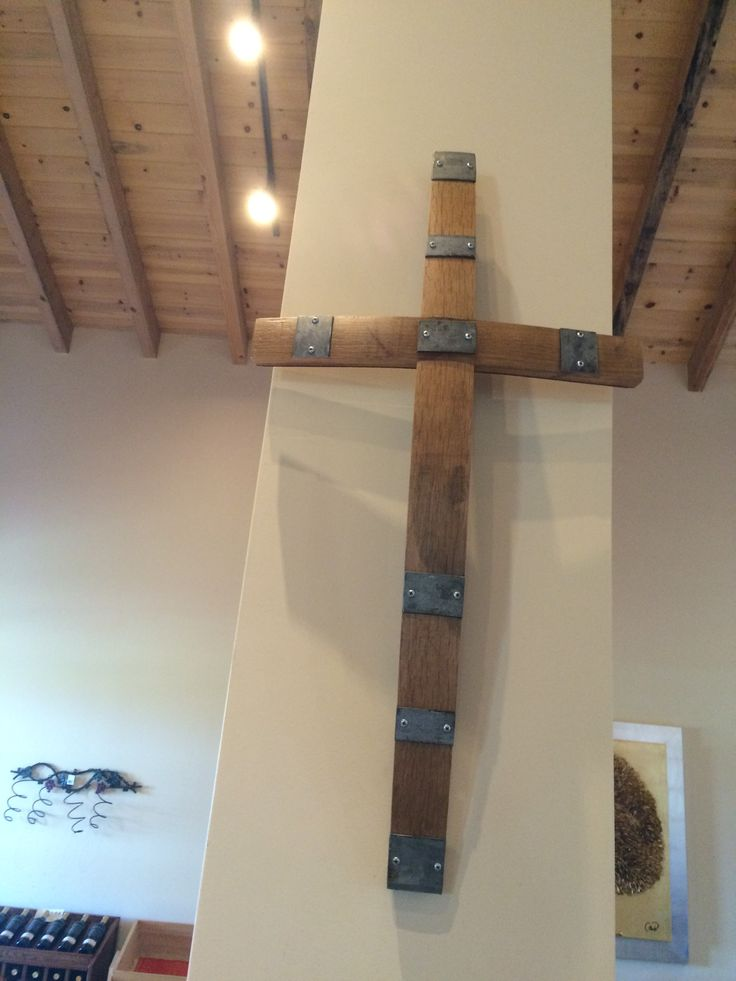 Baja Mexico wine barrel stave cross. Found in Ensenada winery