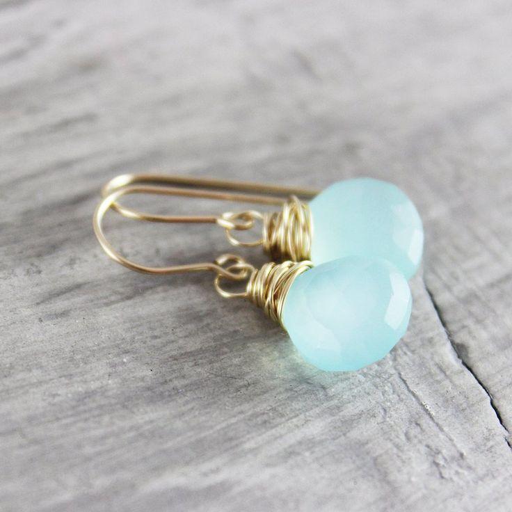 LIGHT AQUA BLUE GOLD DANGLE EARRINGS | Earrings | Necklace | Jewelry | Gemstone Jewelry | #gemstone #druzy #gemstonejewelry #jewelry #handmadejewelry | www.starlettadesigns.com