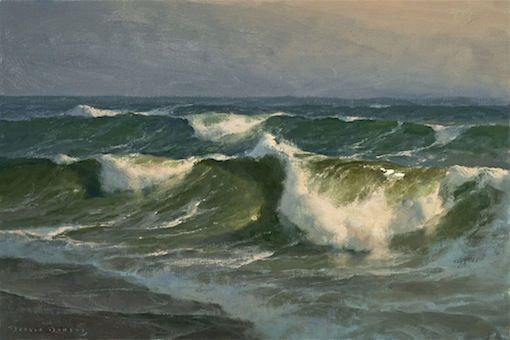 Another extraordinary seascape by Donald Demers for which there is an excellent video: Marine Painting: Art of the Wave. http://donalddemers.com/DVD.html