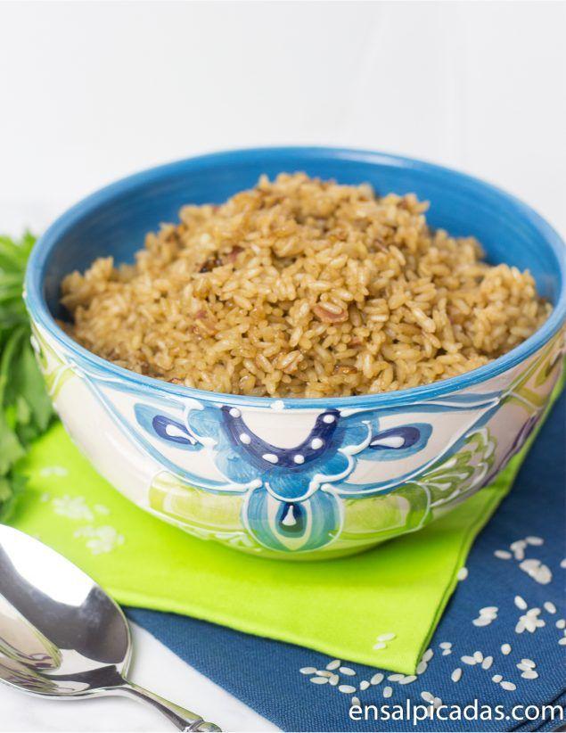 Receta de arroz con cebolla en olla arrocera.