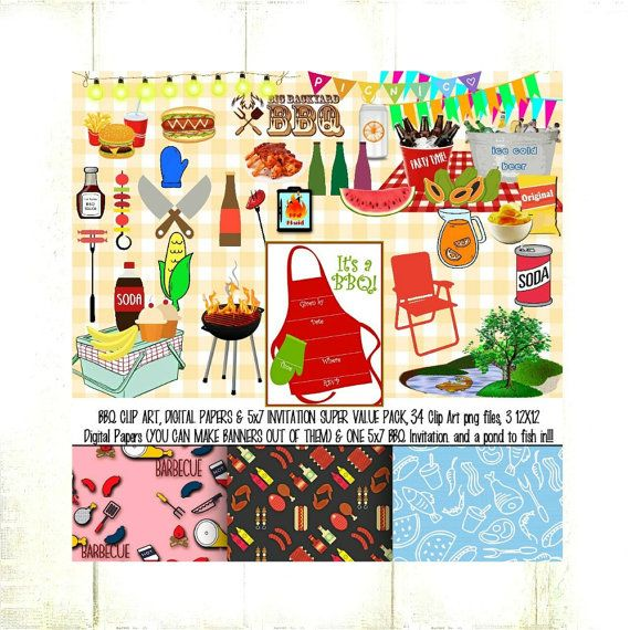 SALE:BBQ Clip Art,Digital Papers & BBQ Invitation Super Value Pack,34png files(inc. pond to go fishing),3 12X12 Papers,1 5X7 Invite