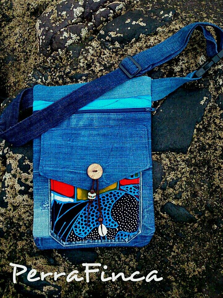 PerraFinca Upcycled jeans&ethnical hipbag