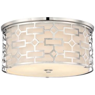 Possini cut out chrome 14 wide ceiling light fixture lamps plus open box