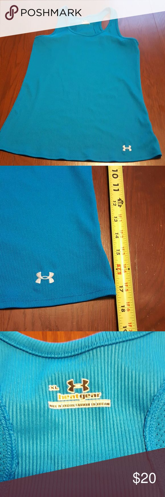 Under Armour XL ribbed long poly tank NWOT Beautiful deep teal blue! Under Armour Tops Tank Tops