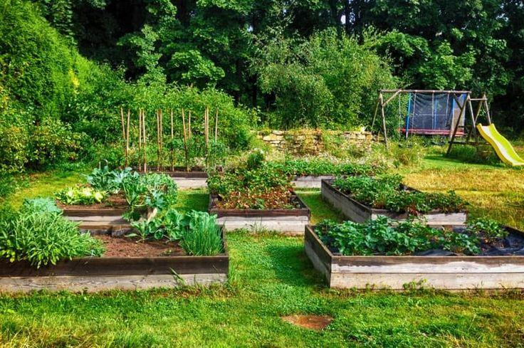 Za domom našli miesto vyvýšené záhony pre pestovanie zeleniny, kvetinová lúka a  detské prvky. Mierny svah je skrotený kamennými múrikmi.