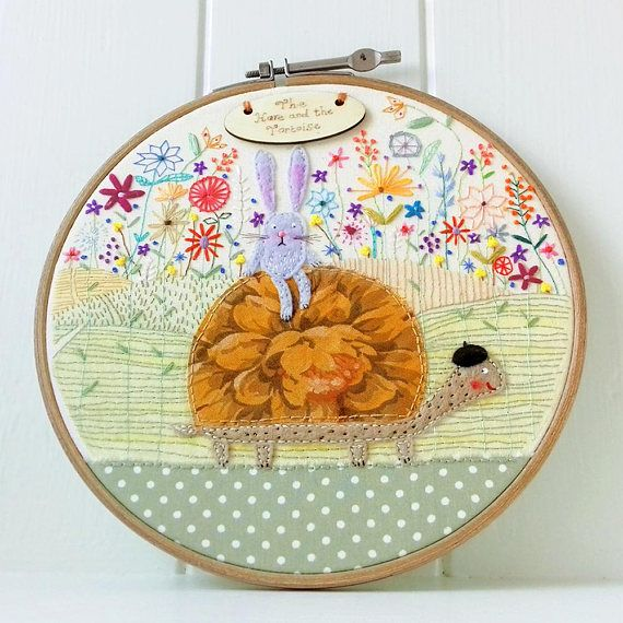 The Hare and the Tortoise  Embroidery Hoop  Whimsical  Cute