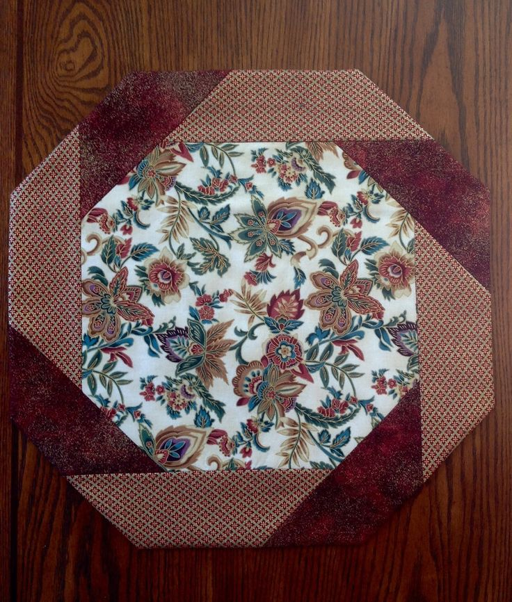 Table Topper, Octagonal, Elegant,  Floral, Multicolor, Metallic Gold, Rust by AlidanCreations on Etsy