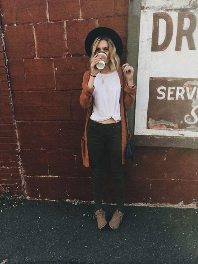 Black Denim, Booties, White Tee Knotted, Burnt Orange Sweater, & Floppy Hat {Boho Chic, Gypsy, Bohemian, Indie Folk, Hippie} http://www.lovekrystle.com