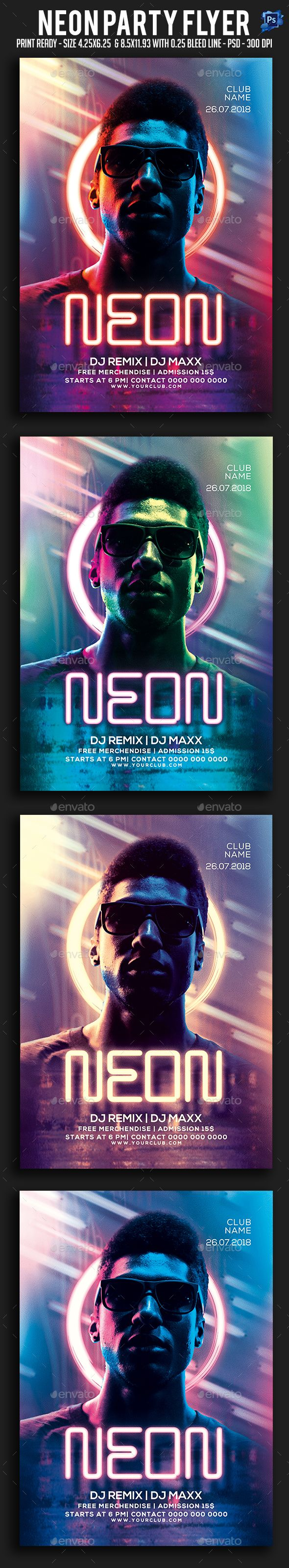 #Neon #Party #Flyer - Clubs & Parties Events