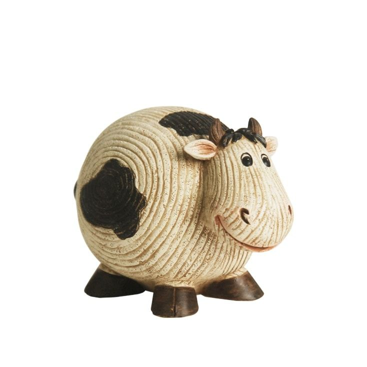 7 Grooved White and Black Roly-Poly Stone Cow Indoor/Outdoor Statue Decoration (Resin), Outdoor Décor