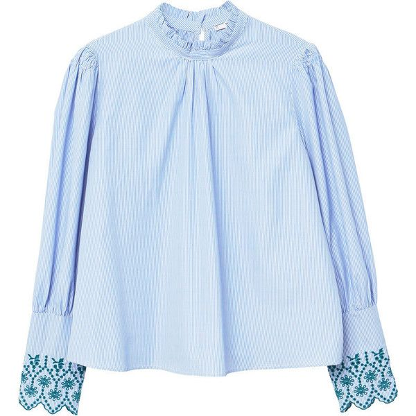 MANGO Striped embroidery blouse (2.390 RUB) ❤ liked on Polyvore featuring tops, blouses, sky blue, sky blue blouse, rouched top, keyhole top, blue striped blouse and keyhole blouse