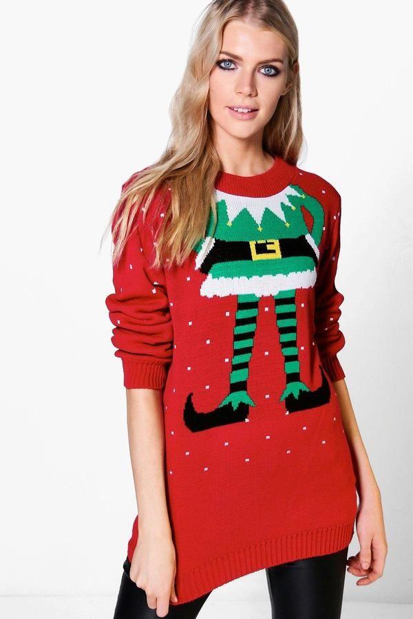 boohoo Lauren Elf Christmas Jumper