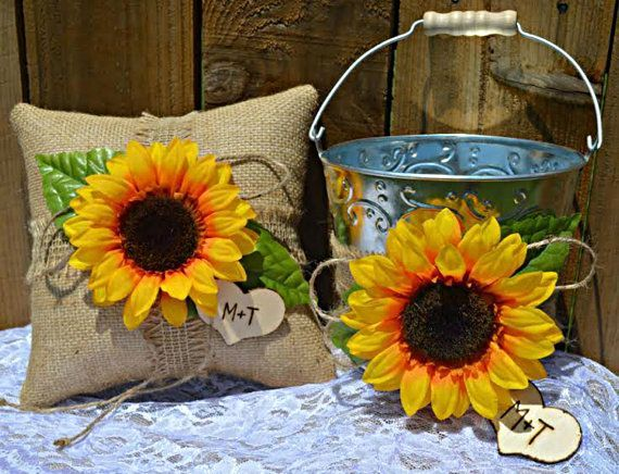 Personalized Sunflower Burlap Ring Pillow Set and Flower Girl Bucket Basket Wedding Rustic Country Wedding by SheriSewSweet