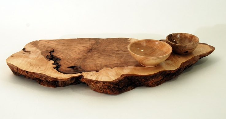 "Natural-edge burl figure maple serving board 14"" x 7"" with 2 small bowls. Recycled from Haliburton, Ontario Canada"