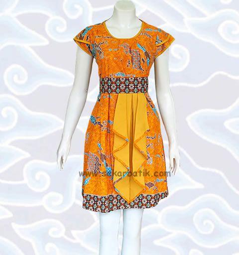 dress batik kuning modern motif Nusantara BD46 di katalog http://sekarbatik.com/dress-batik/