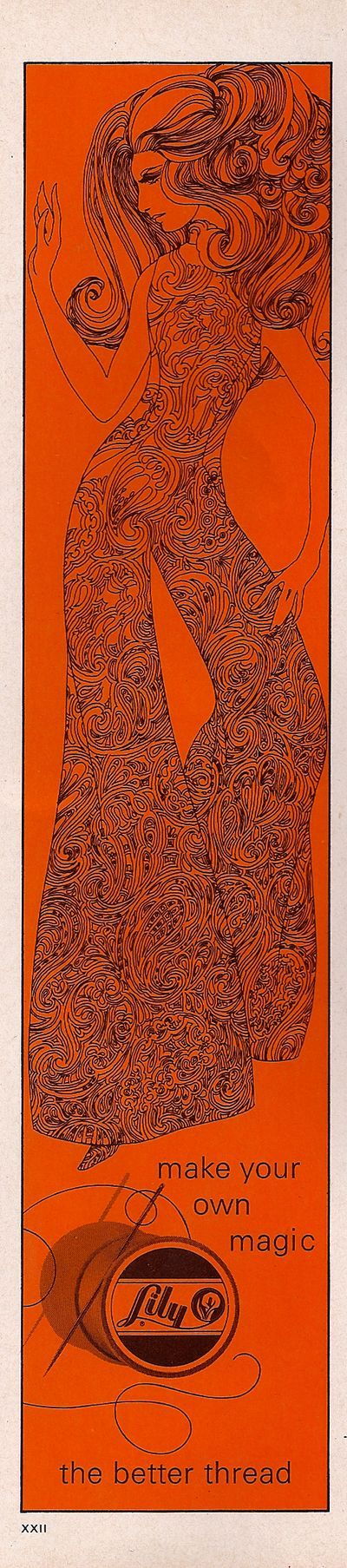 "1969 ""lily"" thread ad--- <3 the design and orange color on this ad"