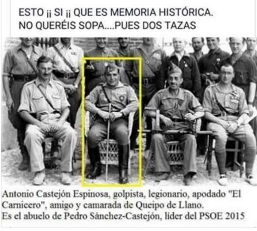 Memoria histórica: Pedro Sánchez es nieto del militar más sanguinario de la Guerra Civil Por Noticiero Universal -jueves, 11 de mayo de 2017 Compartir en Facebook Compartir en Twitter