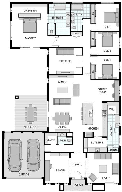 This 4 bedroom floor plan is well laid out with good use of space. It has all the rooms I would like without being excessive. I especially like the kitchen layout and the walk in closet in the master. I only wish all of the rooms were slightly bigger, as it feels a little cramped.