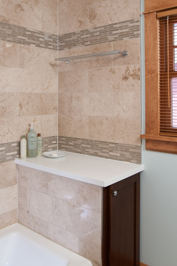 Designer Elizabeth Bland With Castle Building South Minneapolis Bath Remodel Travertine Floor