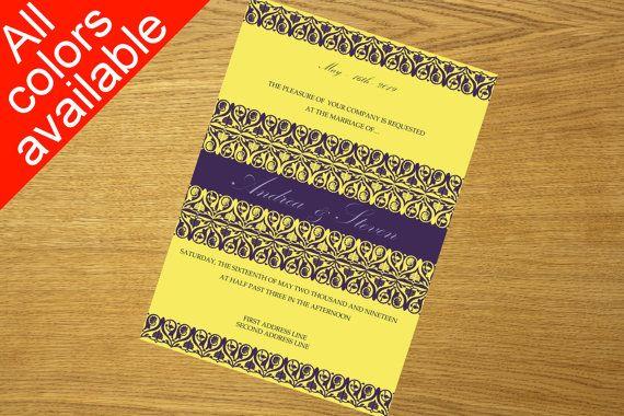 DIY wedding invitation printable wedding by WeddingTemplatesHub