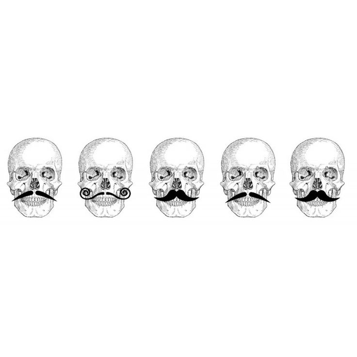 Skull-tache Border Rubber Stamp