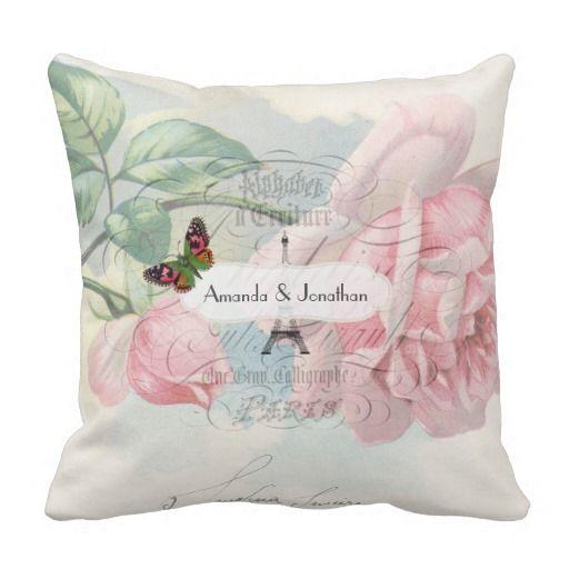 Paris Wedding Vintage Shabby-Chic Pink Rose Custom Pillows