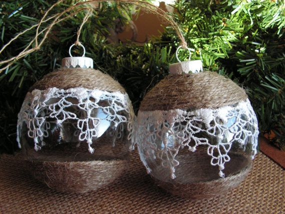Christmas ornaments jute and lace