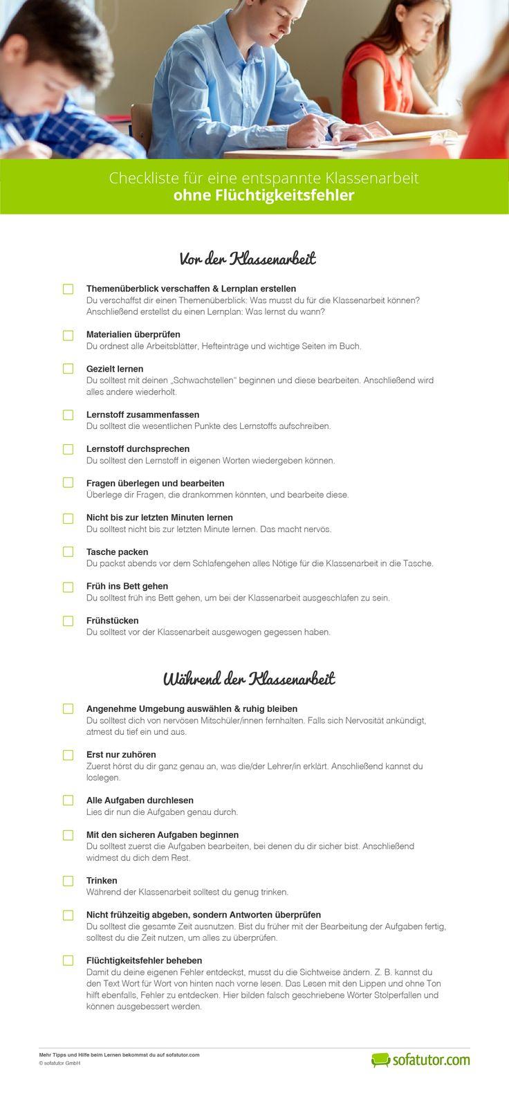 So gehst du ruhig in die nächste Klassenarbeit. Das passende PDF kannst du hier herunterladen: http://magazin.sofatutor.com/schueler/2017/04/10/keine-angst-vor-klassenarbeiten-so-bist-du-entspannt-und-erfolgreich/