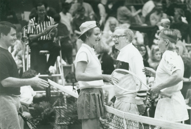 Danny #White, left and Pam #Shriver, in cap, greet Warren #Buffett and Martina #Navratilova at the net. Gen. Lee #Butler, the umpire, is in the background. Feb. 10, 1992 By: THE WORLD-HERALD Buy the photo here http://marketplace.omaha.com/shop/product.php?productid=38471
