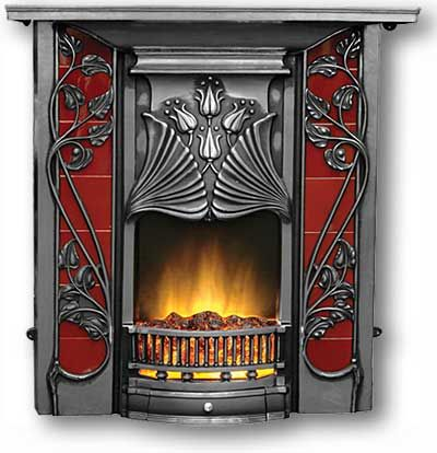 """The Toulouse"" is a reproduction Complete Cast Iron Fireplace in the Art Nouveau Style with an extraordinary hood with four tulips bordered by large leaves. The tiles are partly obscured by vine decoration that climb sinuously across the frame. It has a plain ash pan cover."