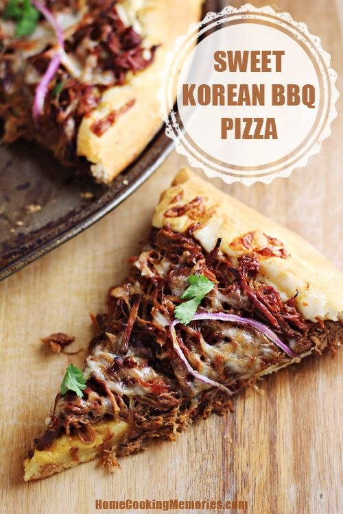 This Sweet Korean BBQ Pizza is an easy recipe that uses your slow cooker and Campbell's Slow Cooker Sauces to create a delicious shredded beef pizza topping. #ad #CampbellsSkilledSaucers