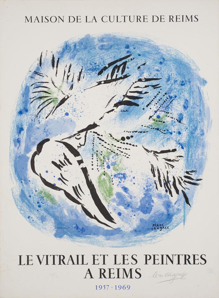 Signed 1969 Chagall Vitrail et les Peintres de Reims Lithograph
