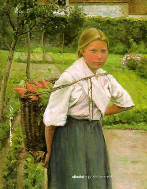 Ada Thilén Girl with a Basket of Vegetables, painting Authorized official website