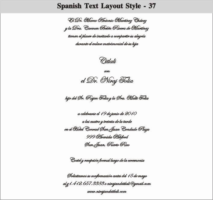 spanish wedding invitation wording best