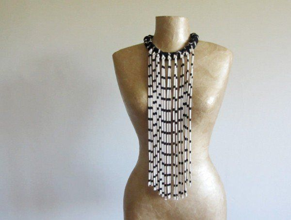 Fabric Necklace With Long Fringe