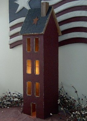 Barn Red ~ 4 Story Lighted Primitive House