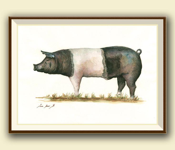PRINT- Hampshire pig - swine artwork - pig painting - pig print- hog art wall pig- farm animal nursery - cute pigs - Art Print by Juan Bosco by SanMartinArtsCrafts on Etsy