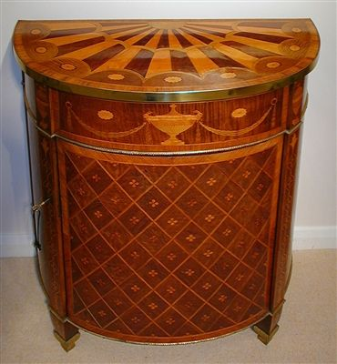 This Exceptionally Rare George III Period Demi Lune Commode Is Attributed  To John Linnell The Small Size Commode Is Decorated With Fine Marquetry  Veneers ...