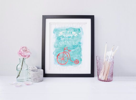 Inspirational Watercolour Quote Print Adventure by PepperbelleTinkers