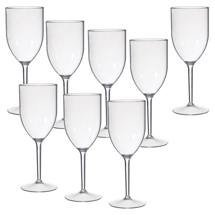 CreativeWare Acrylic Wine Glasses - 8 pc. Set - STM23CLR