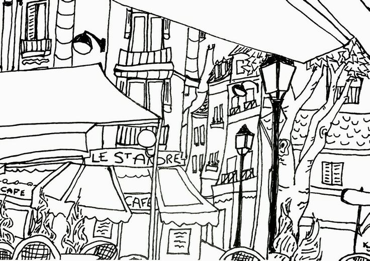 lunch at st michel, possibly my favorite spot in Paris. ink on paper, Katie Jurkiewicz