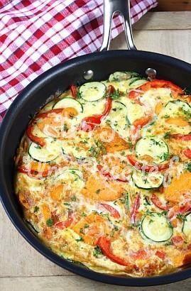 Omelette aux légumes (courgettes, poivrons, tomates)   Un Jour Une Recette