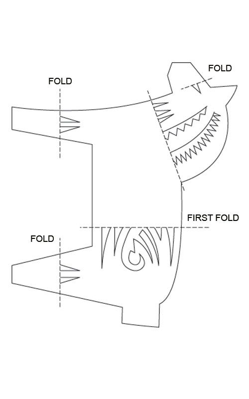 template for paper Dala horse garland