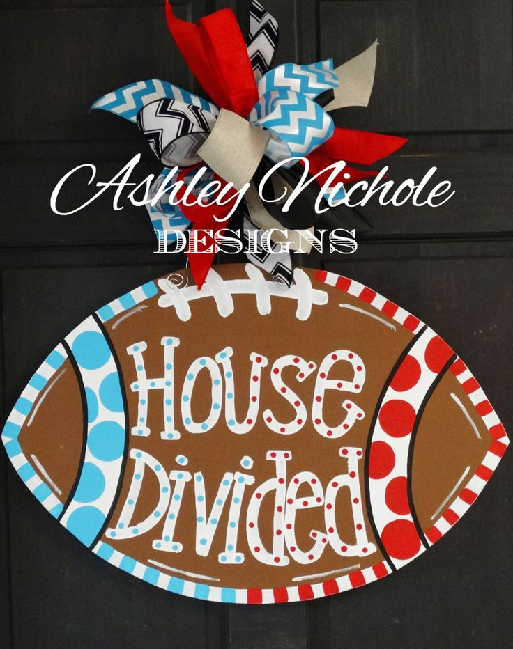 House Divided Football Door Hanger, Door Decoration,  Fall Wreath, Wooden Football by DesignsAshleyNichole on Etsy https://www.etsy.com/listing/196225061/house-divided-football-door-hanger-door