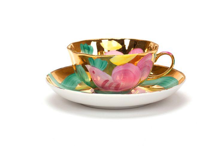 Чашка чайная с блюдцем 200 мл Тюльпан Розовая птица - Классика фарфора