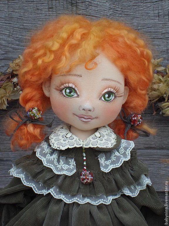 Купить Текстильная куколка Агнешка. - тёмно-зелёный, кукла ручной работы, кукла в подарок