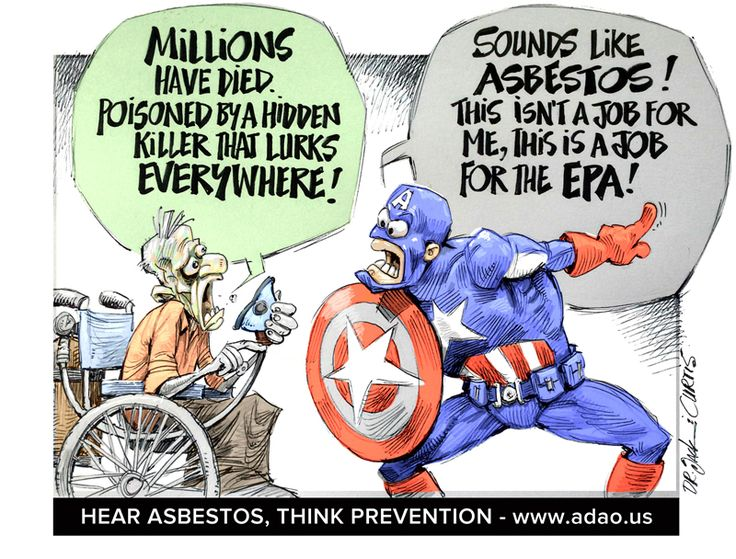 Posted on October 23, 2016   Political Cartoon by Dr Jack and John Curtis   Capitan America to the rescue! And just in time, because asbestos victims are long overdue for help from a hero.It's time for the EPA to end
