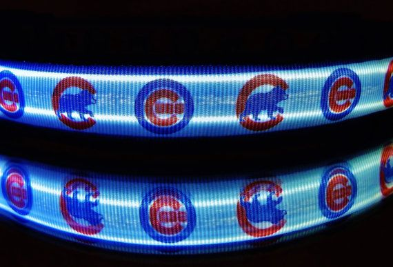 Chicago Cubs & Sox dog collar w/ LED lights glows in by bellaTAZ