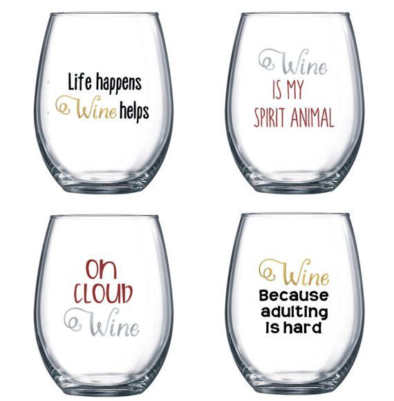 Set Of 4 Stemless Wine Glasses With Funny Cute Sayings Wine Glass Sayings Cricut Wine Glasses Funny Wine Glasses