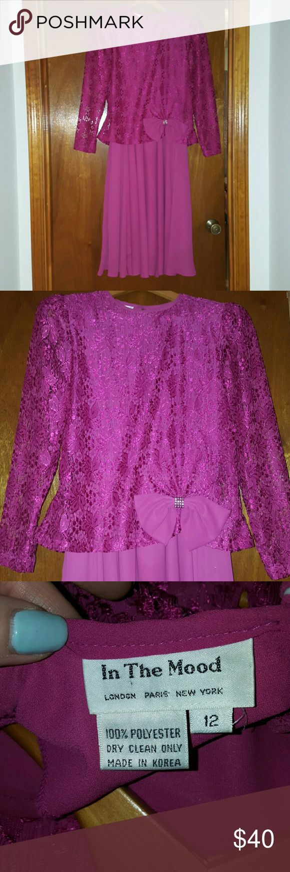 VINTAGE RUNWAY MOTHER OF THE BRIDE DRESS!!! Beautiful Fuschia Pink dress with lacey overlay on the top half of the dress. Decorated at the waist with a bow studded in rhinestones! Purchased from a runway show in NYC!!! In The Mood Dresses Wedding